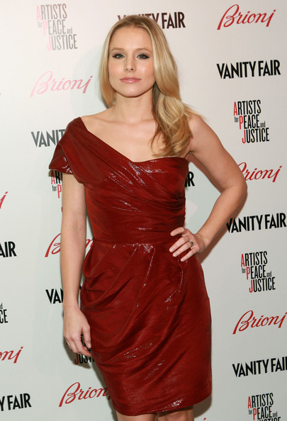 kristen bell and lela rose fall 2010 rtw red leather one shoulder dress gallery Are you a Broke Girl that Loves Designer?