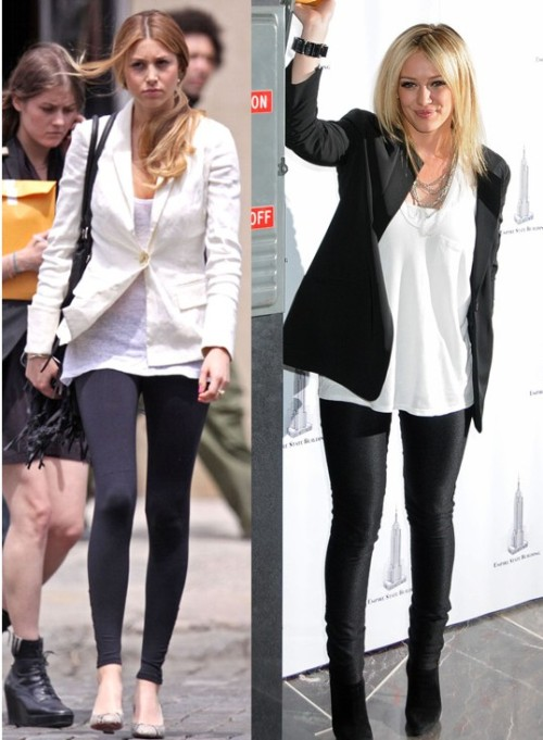 leggings look better on whitney port vs hilary duff Back to School: 2011