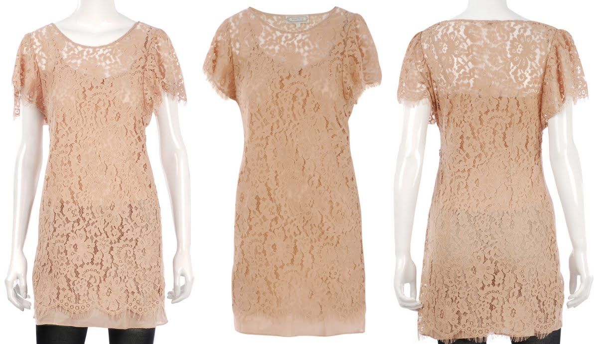 beyond vintage - nude lace dress