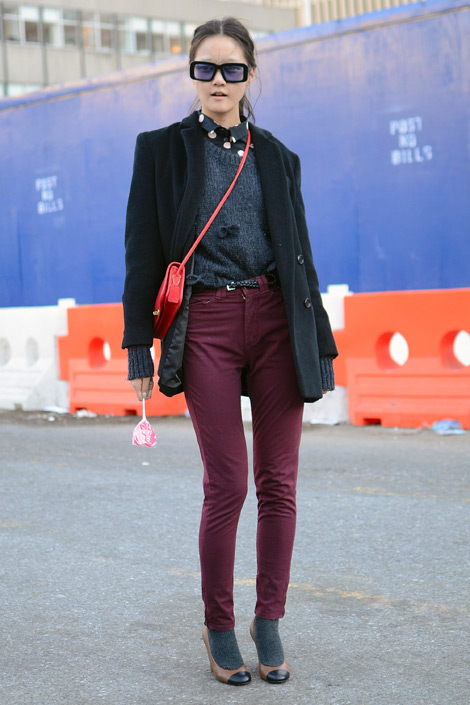 A pair of burgundy jeans Trend Alert: Burgundy Jeans