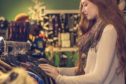 woman thrifting