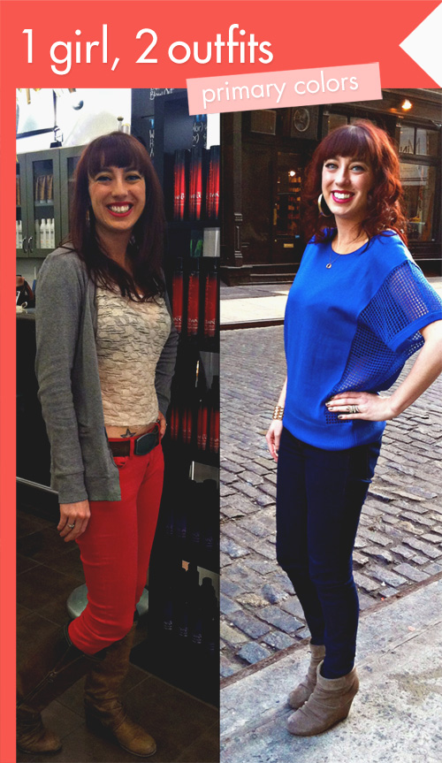 1girl2outfits 1 Girl, 2 Outfits: Primary Colors Vs. Black Mini Skirts