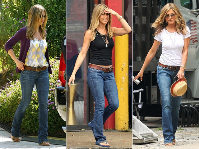 casual jennifer aniston 640x480 Trend Alert: Are Flare Jeans Coming Back?