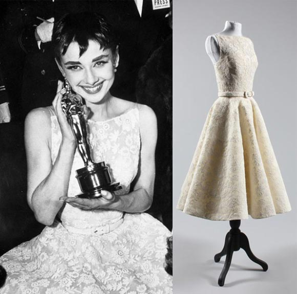 audrey hepburn oscars dress Steal Her Look: Audrey Hepburns Lace Oscar Dress From 1954