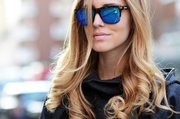 blue mirrored glasses 7 Stylish Sunglasses Trends for Summer 2013