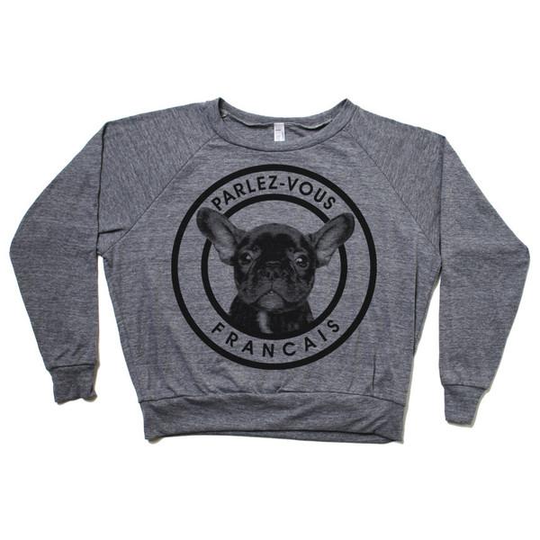 Cropped Frenchie Sweatshirt // www.brokeandchic.com