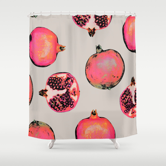 Pomegranet shower curtain for the win!