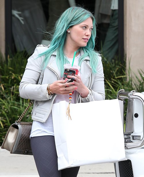 Hilary Duff with green hair // www.brokeandchic.com