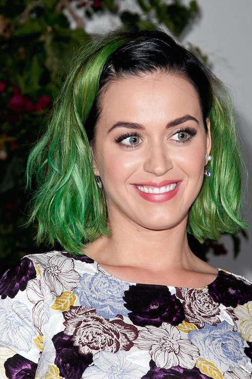 Katy Perry with green hair // www.brokeandchic.com