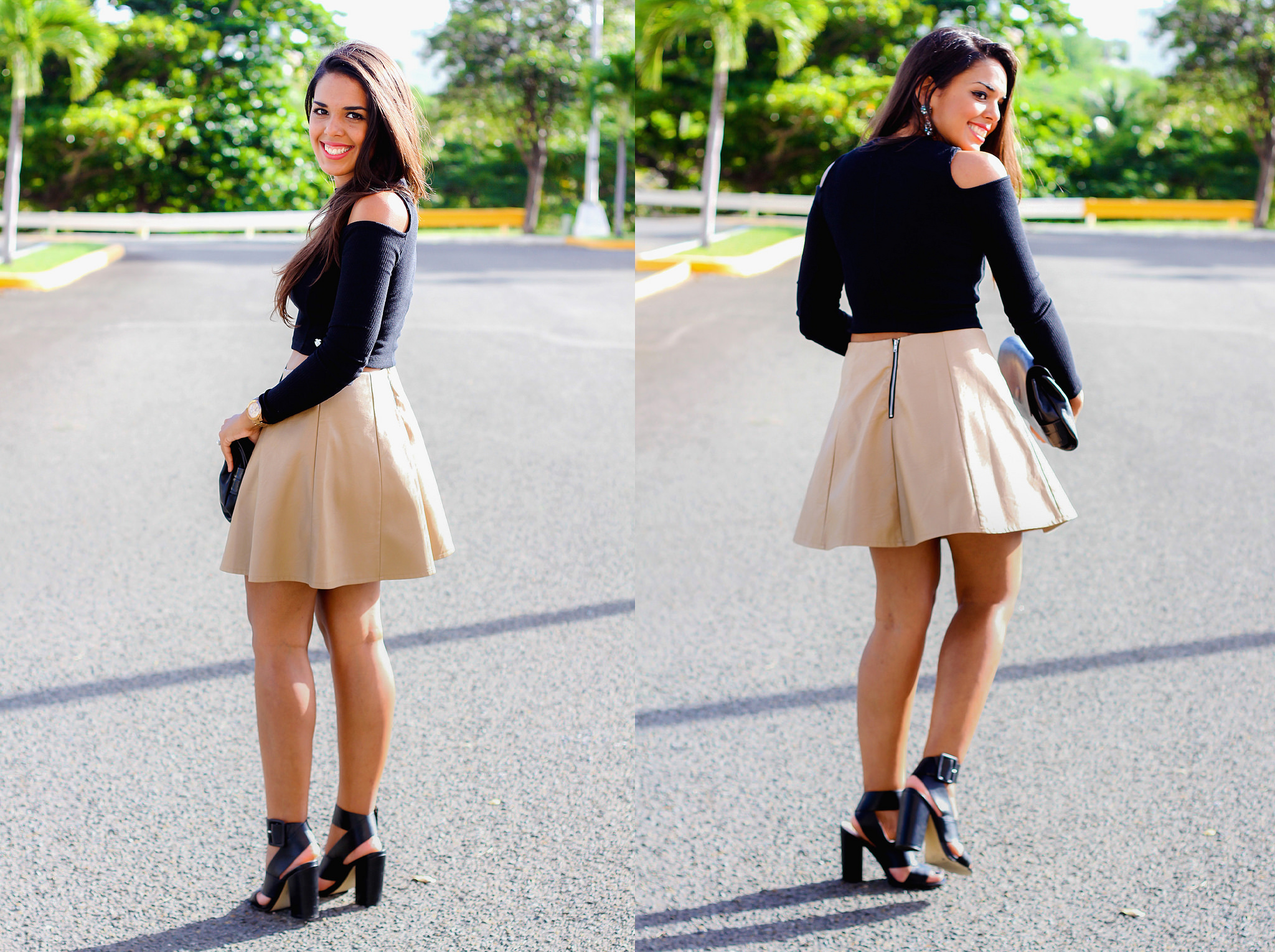 3 Different Ways to Wear a Nude Leather Skirt
