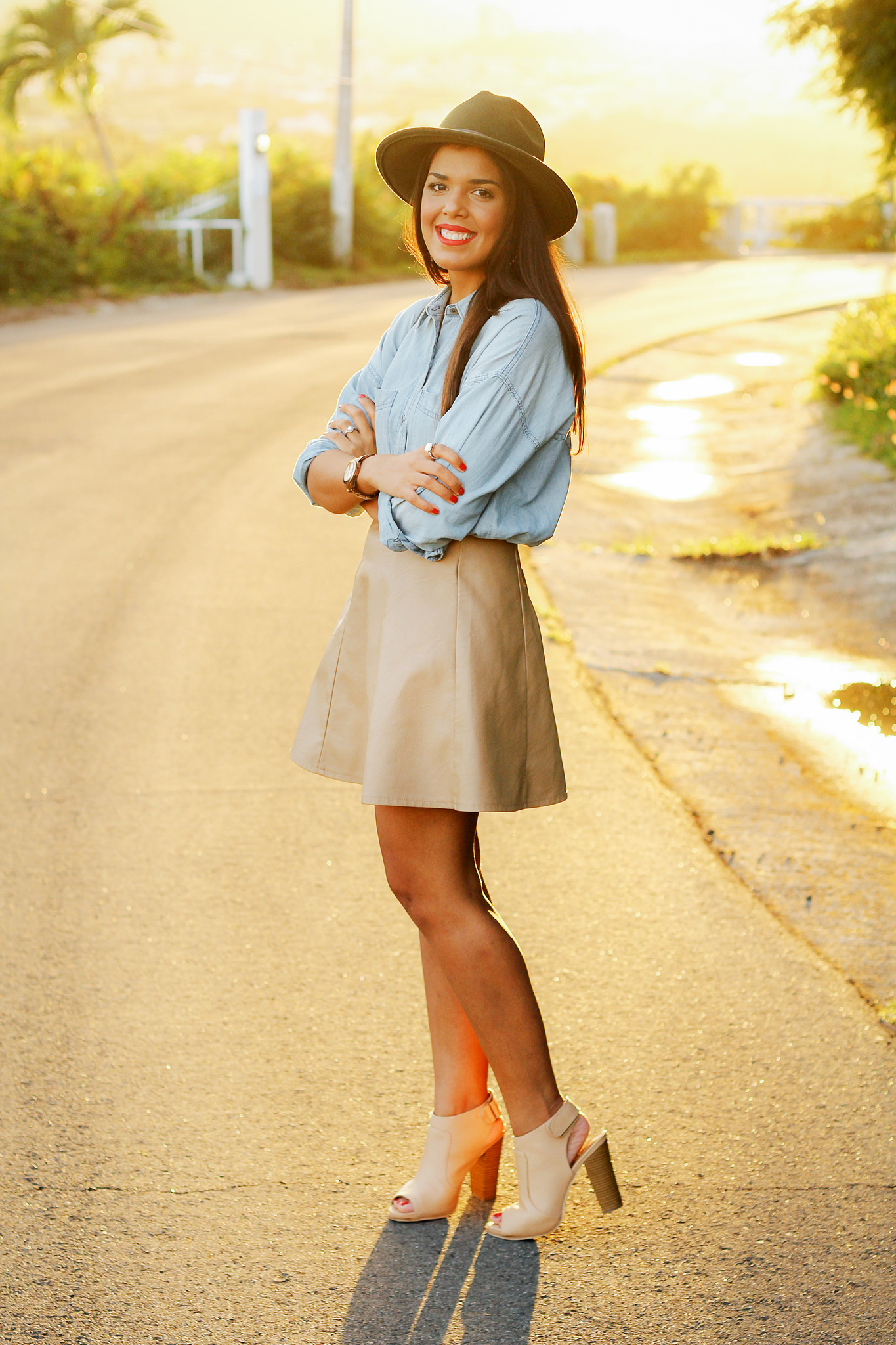 3 Different Ways to Wear a Nude Leather Skirt // www.brokeandchic.com