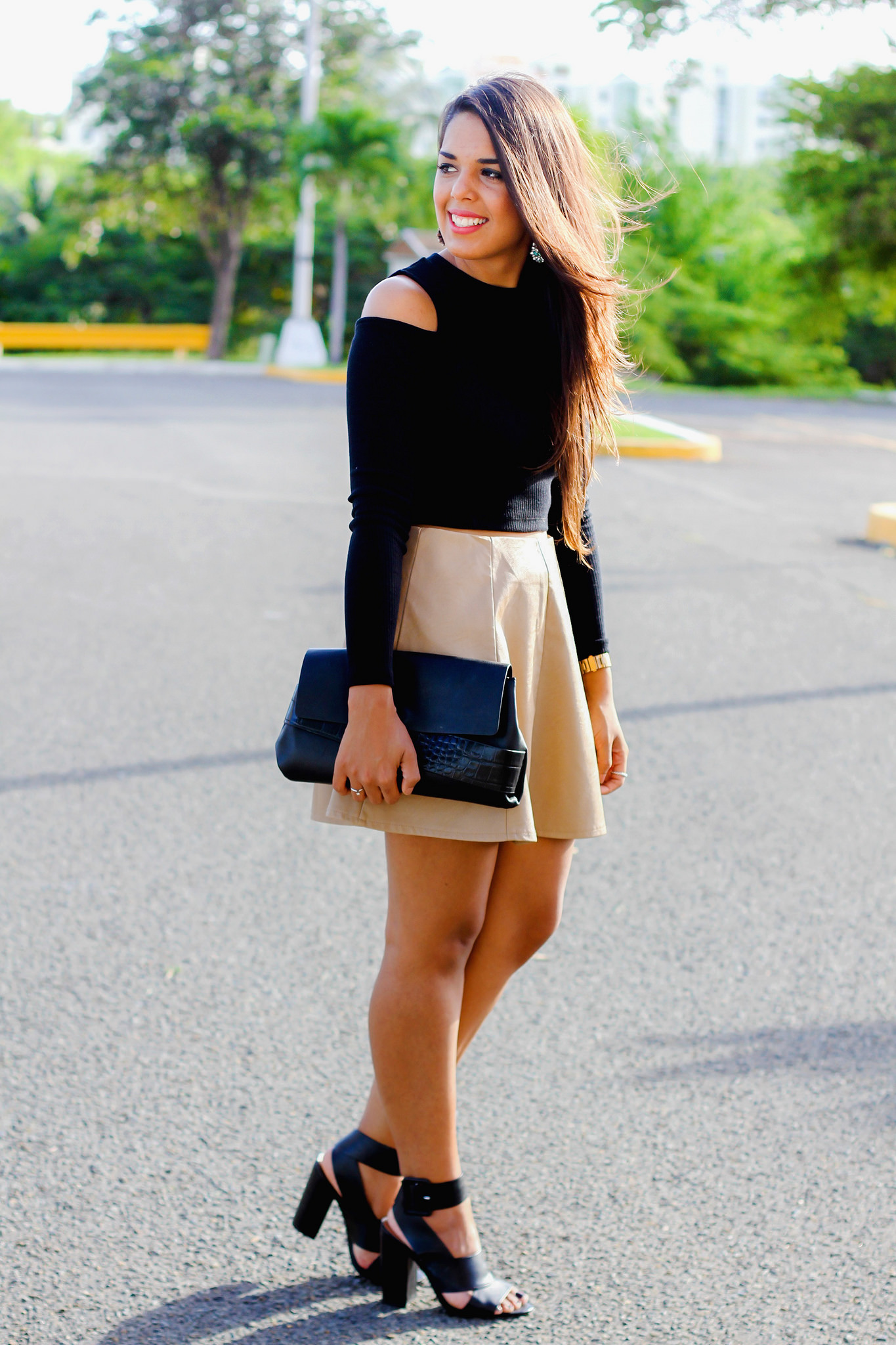 Nude leather skirt!
