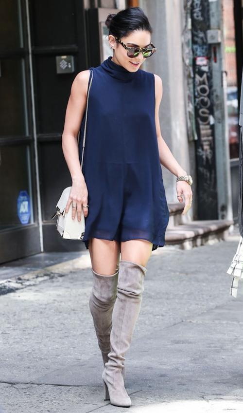 Knee-high boots on Vanessa Hudgens // #brokeandchic