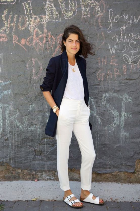 Leandra Medine wearing white Birkenstocks!