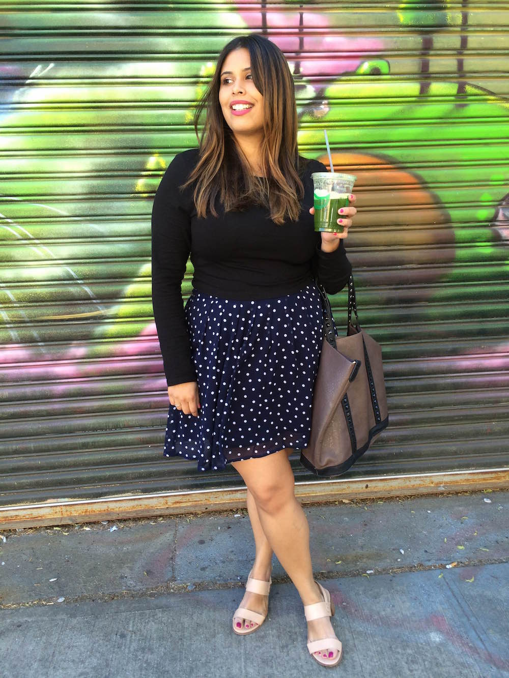 Two Different Ways to Wear a Polka Dot Skirt