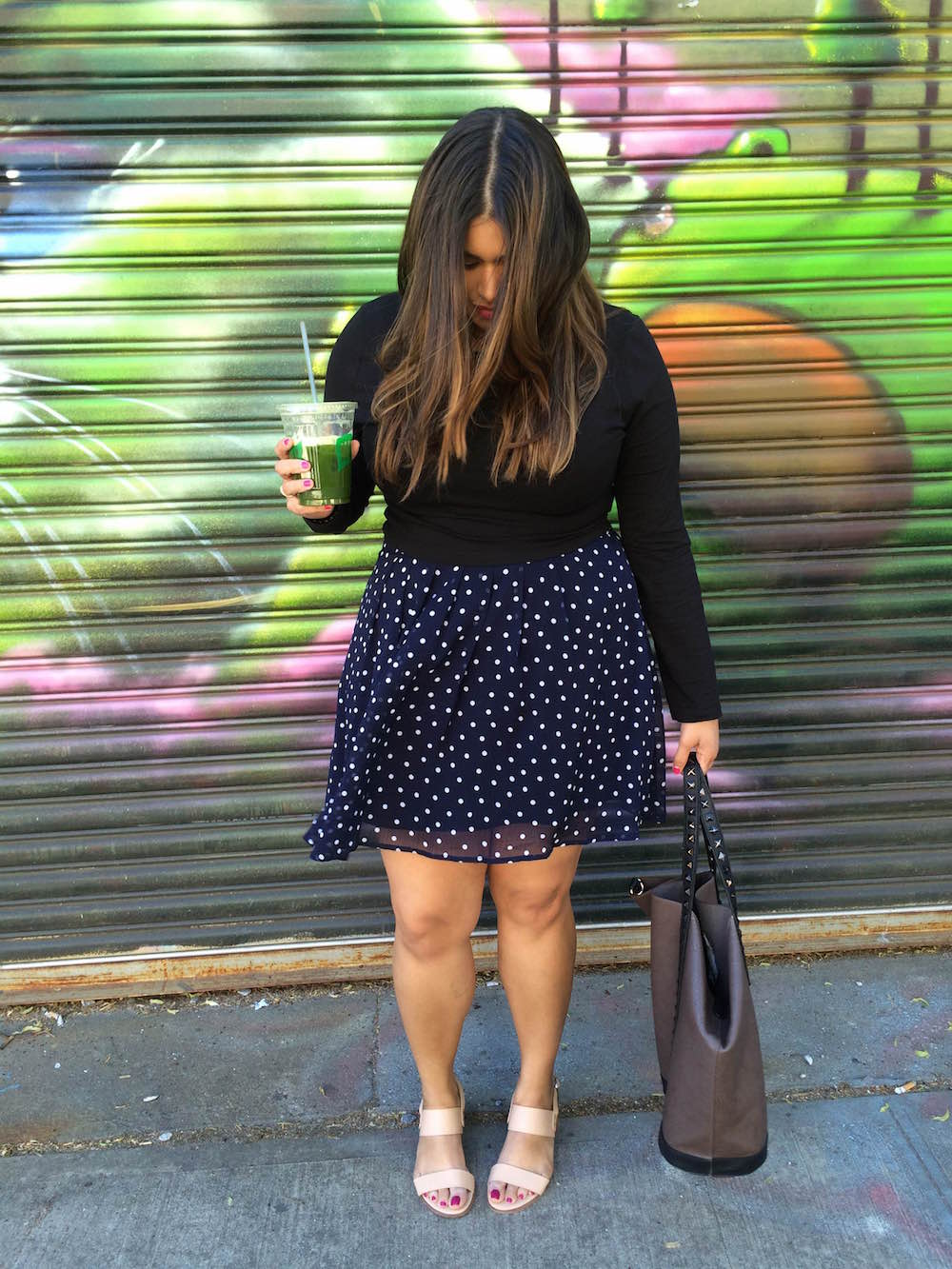 Polka dot skirt // brokeandchic.com