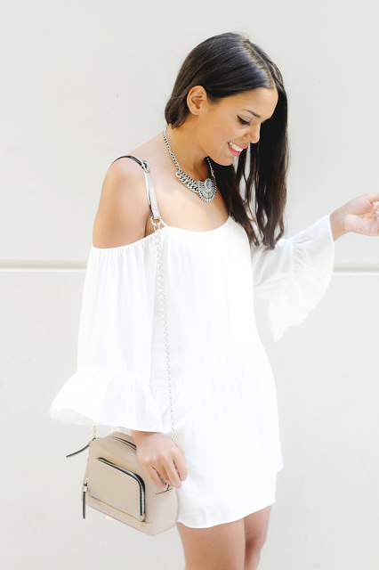 Off-the-shoulder dress // www.brokeandchic.com
