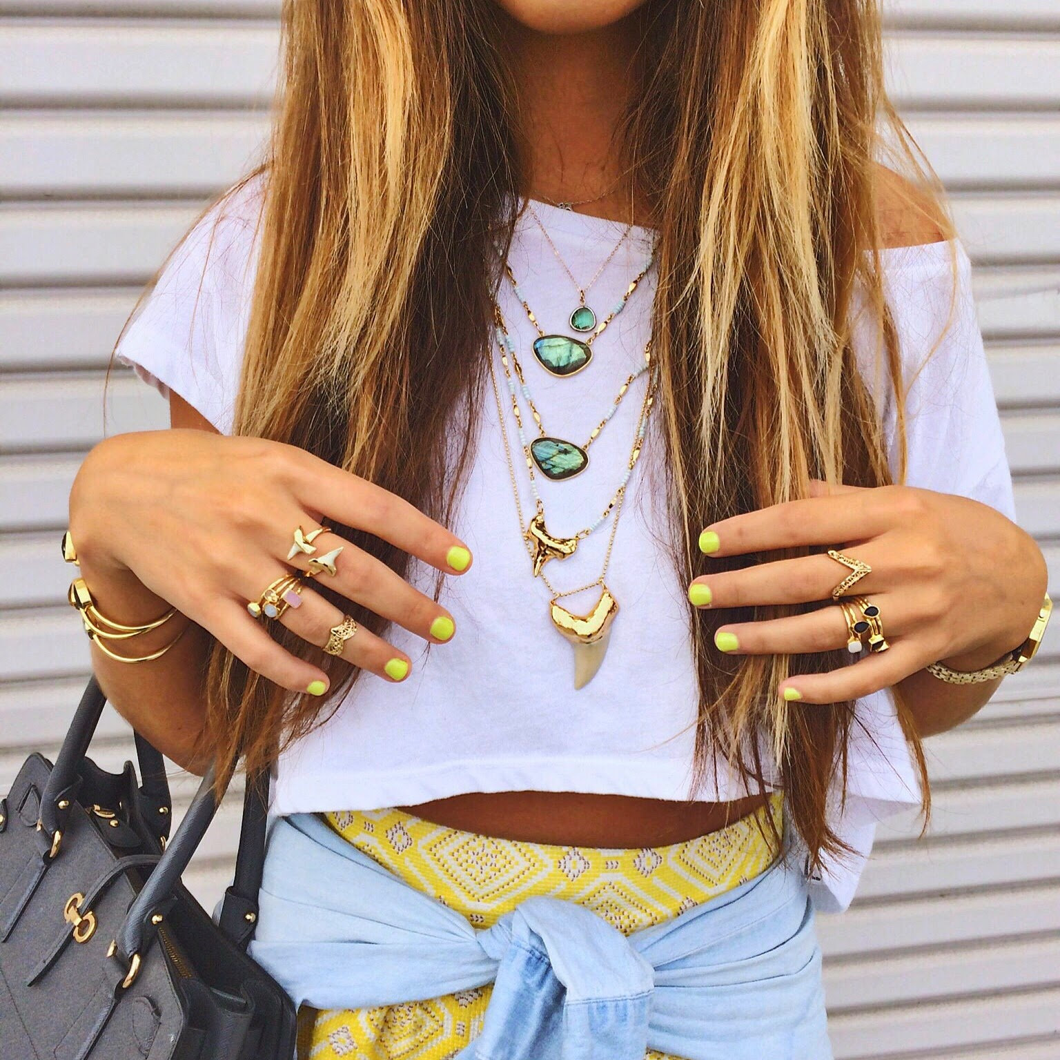 Bold Nails + Layered Necklaces // www.brokeandchic.com