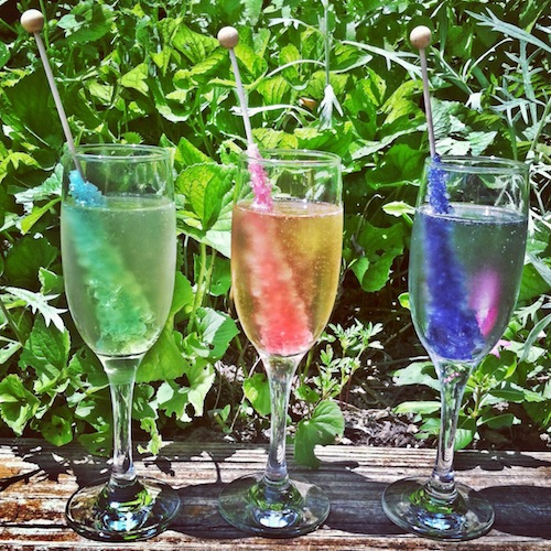 Rock Candy Filled Champagne Glasses: Hostess With The Mostess: Event Planning Without The