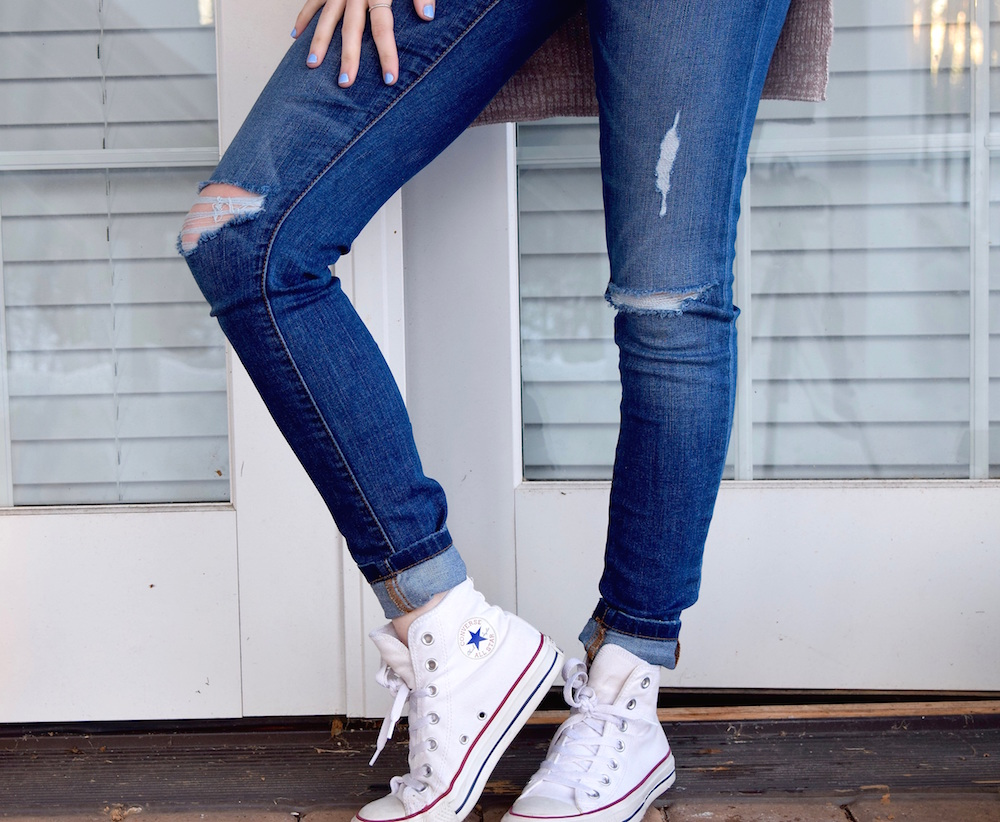 Ripped Denim + Converse