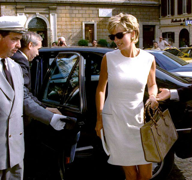 Princess Diana with her Bamboo-Handled Gucci Bag