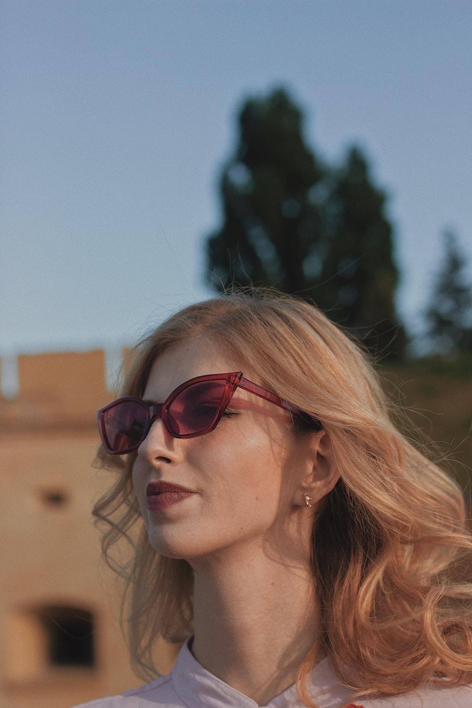 maroon statement sunglasses