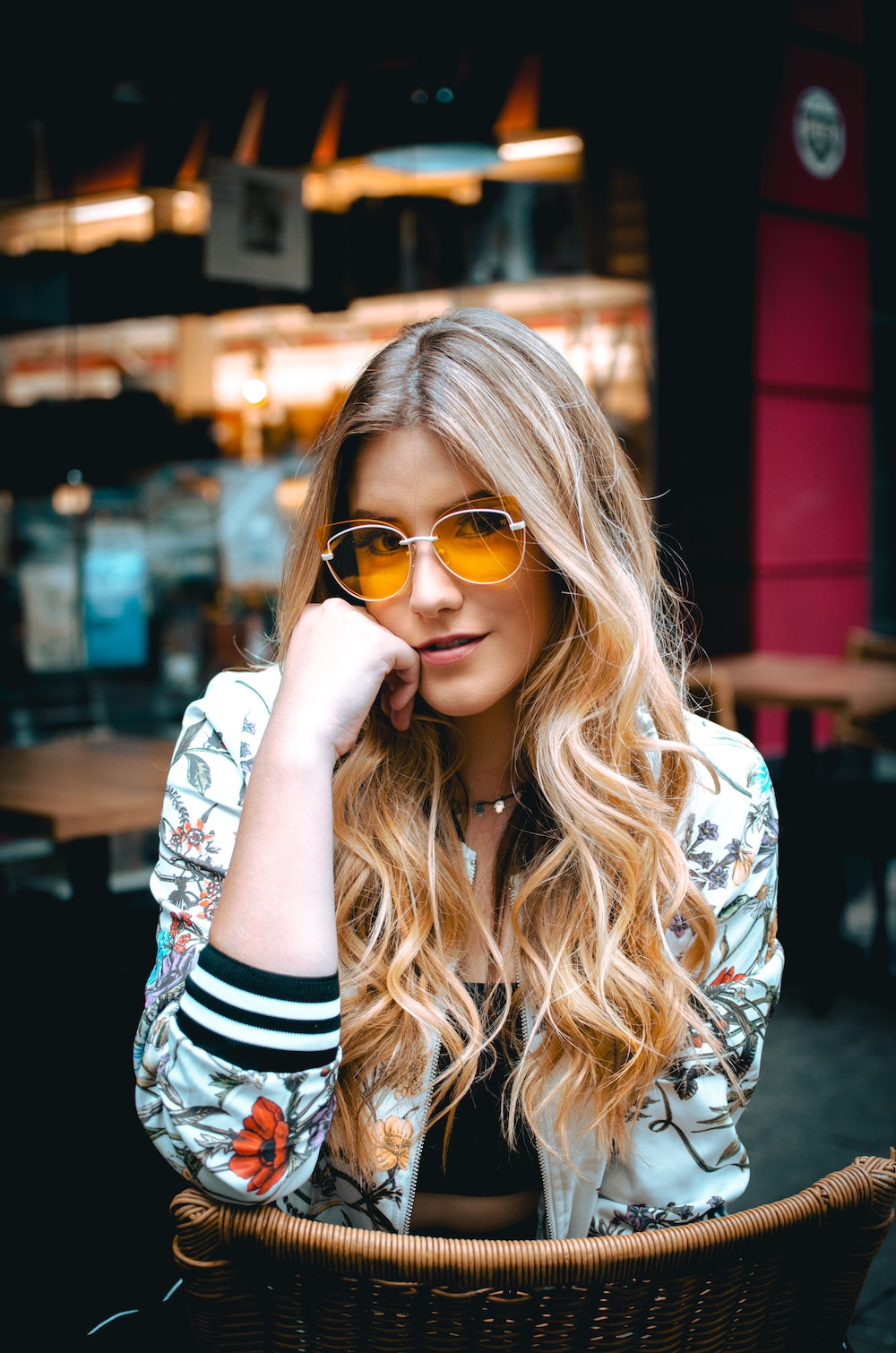 statement sunglasses with yellow lenses