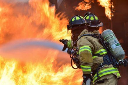 firefighters battling a big fire