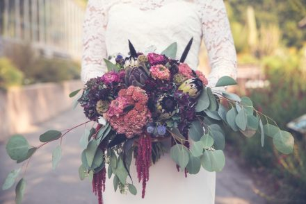 dark and beautiful bridal bouquet
