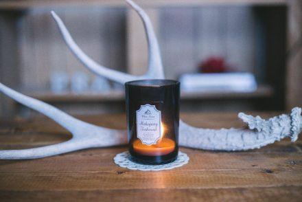 candle on mantle burning