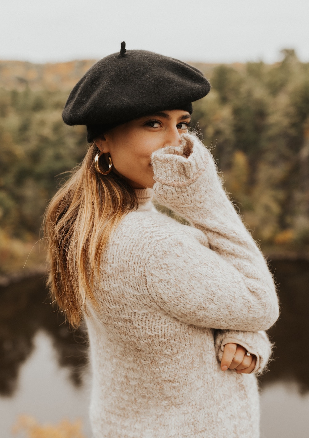 woman wearing a cashmere sweater