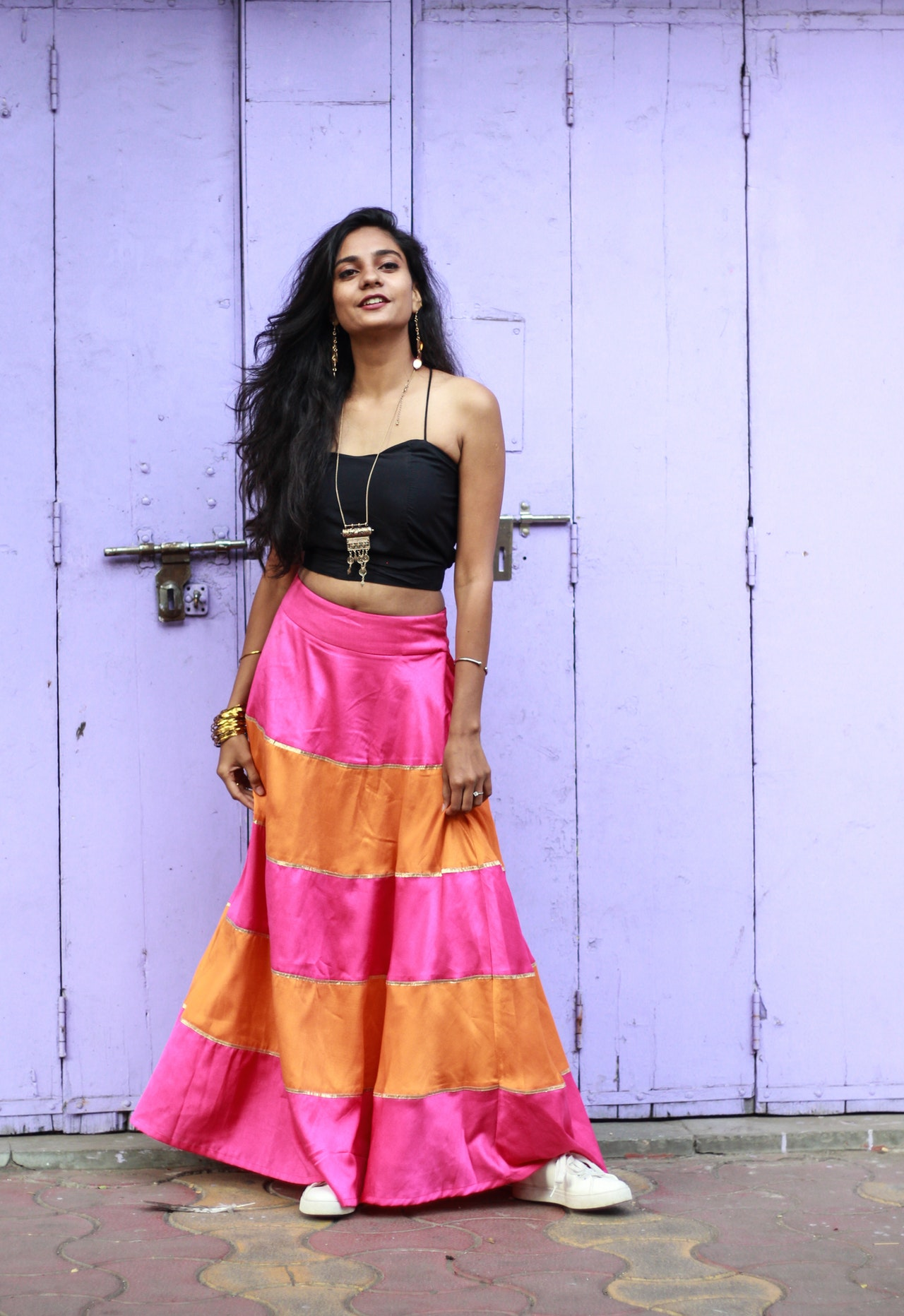 colorful outfit with long skirt