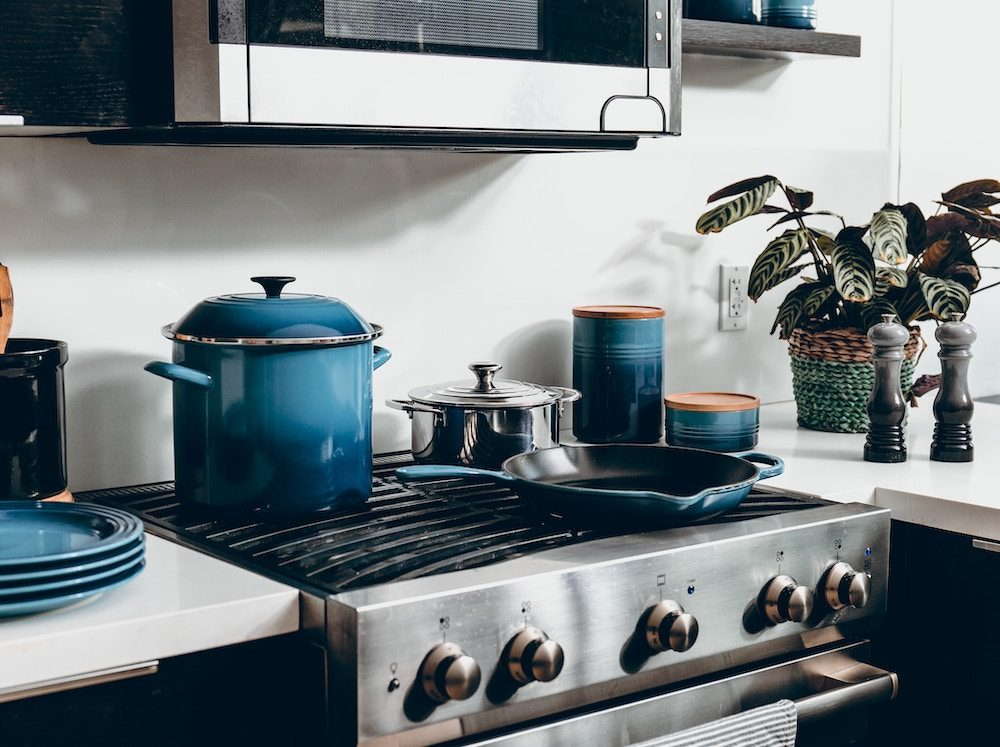 modern kitchen with a dutch oven
