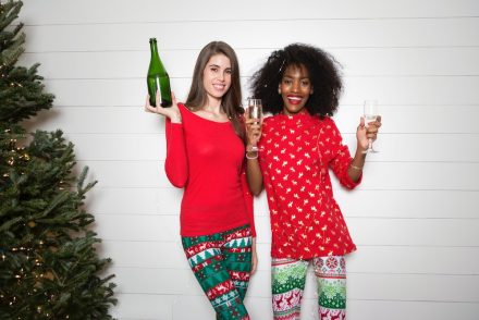 women in Christmas pajamas