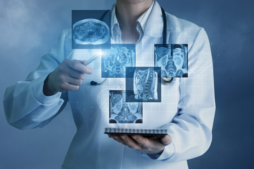 Doctor sees virtual images of the patient .