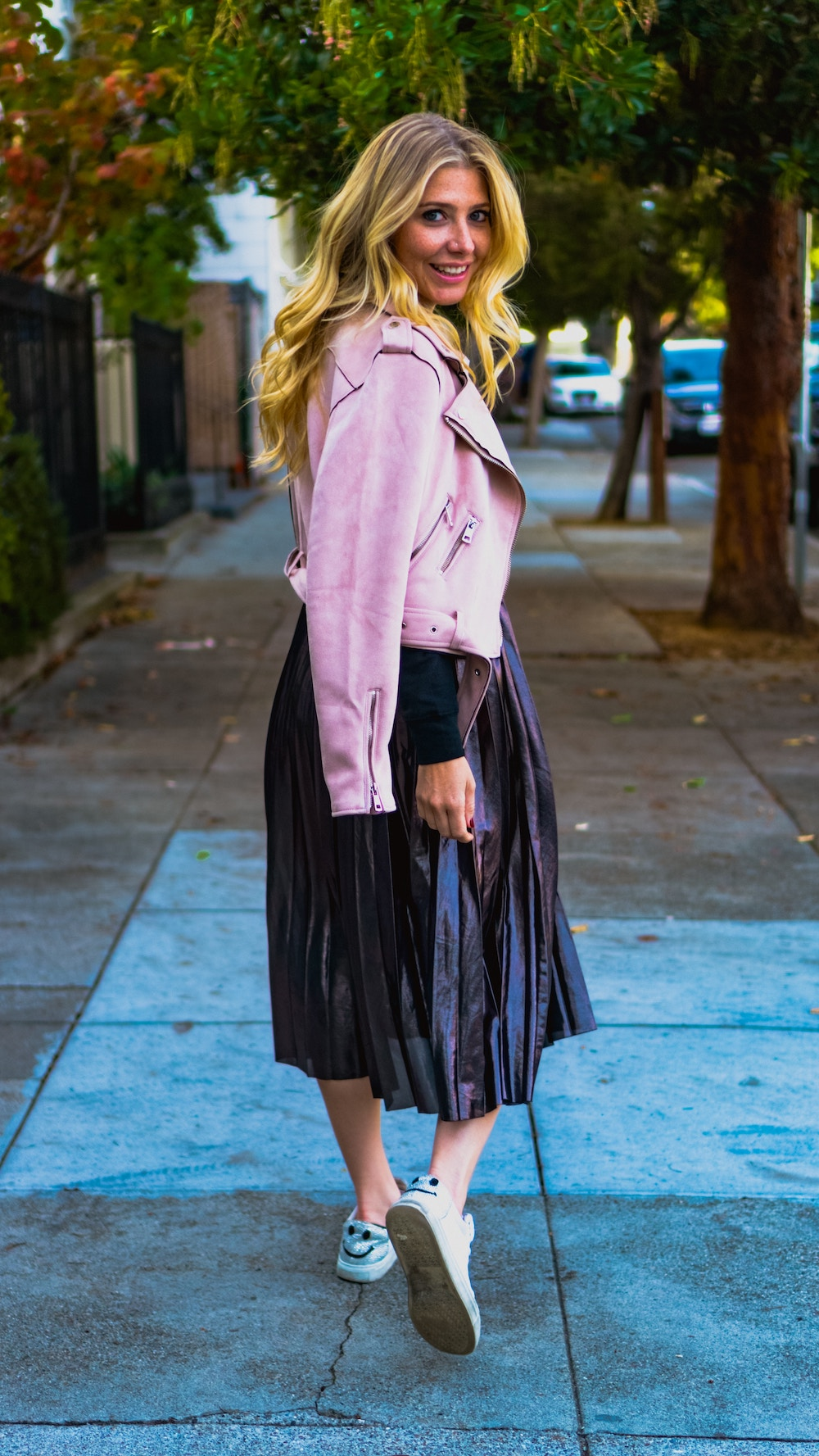 leather pleated skirt with pink jacket