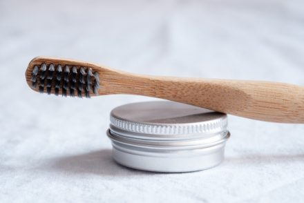 toothbrush with black bristles