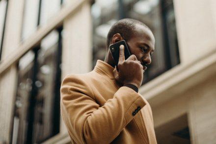 fashionable man on phone