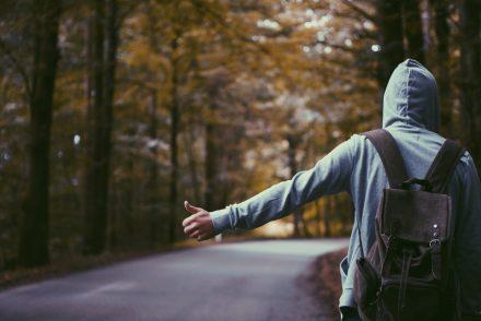 man hitchhiking