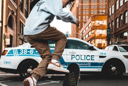 teenager on skateboard