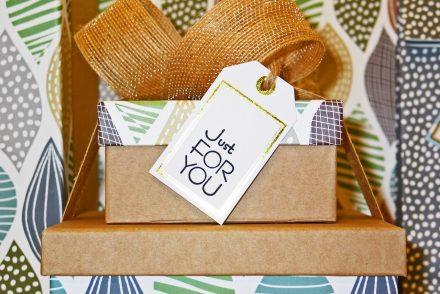 birthday box with ribbon
