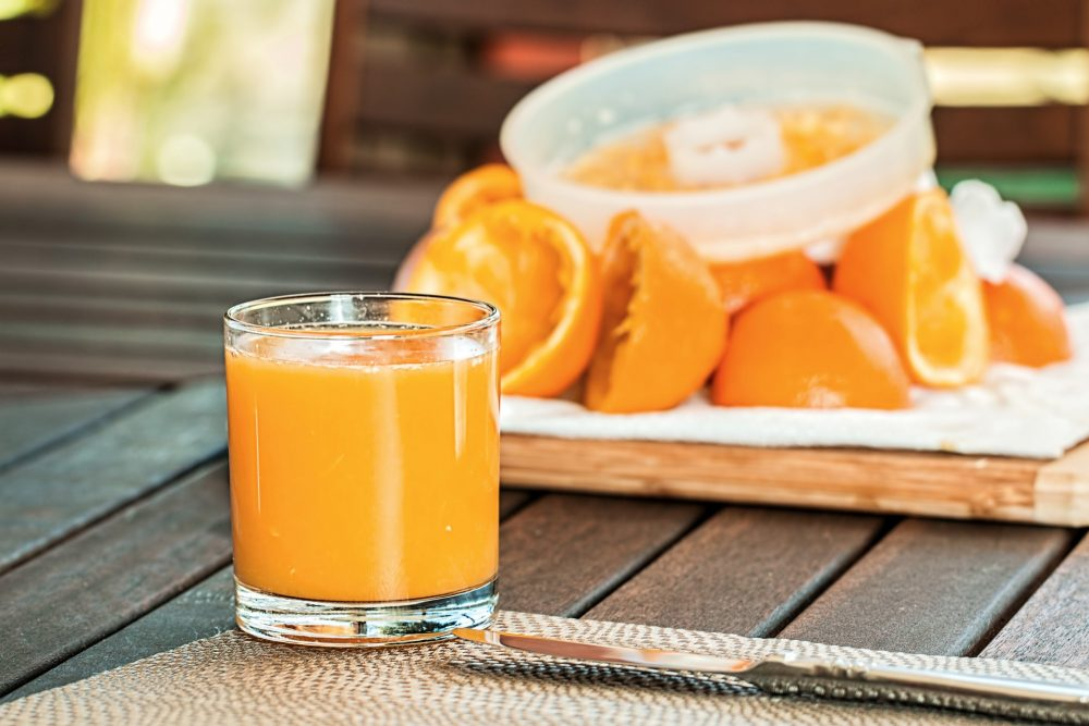 Glass of fresh orange juice