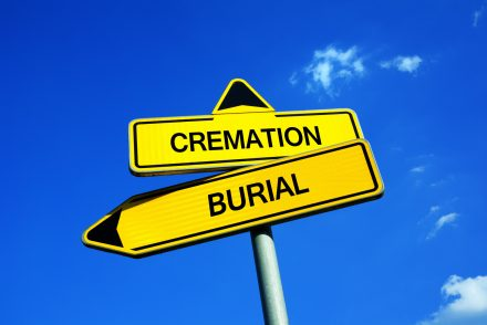 Cremation vs Burial - Traffic sign