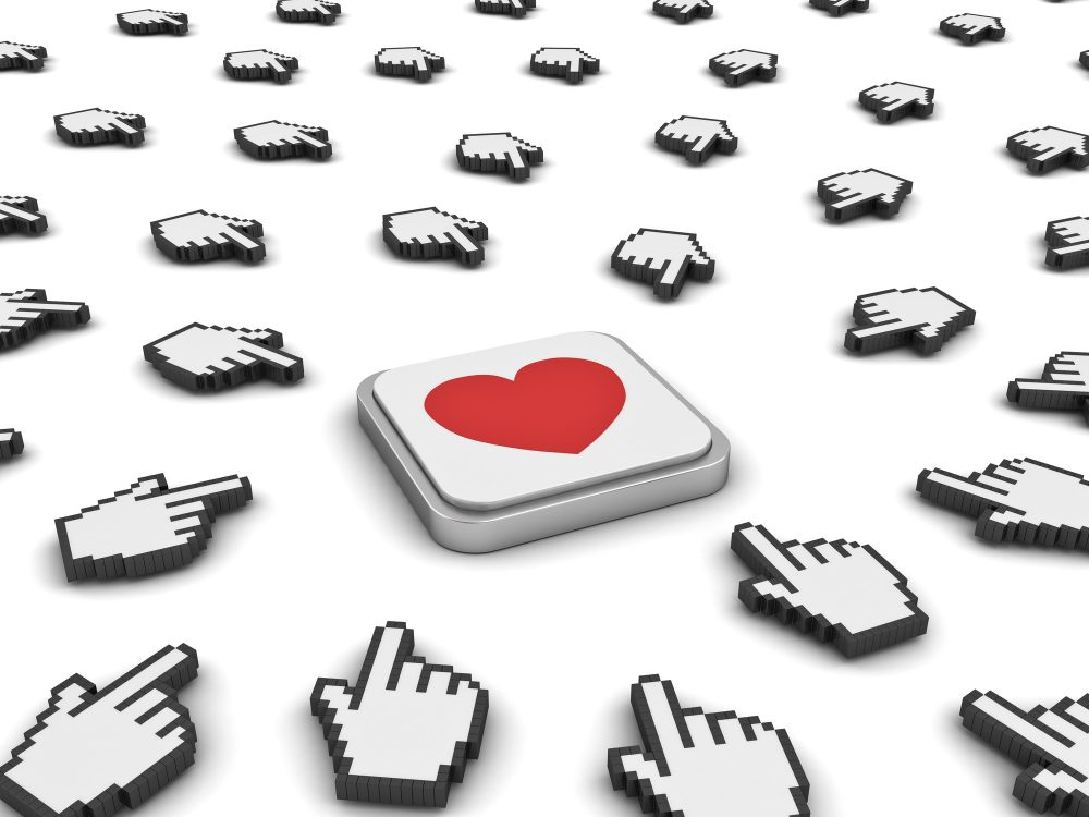 hand cursors clicking heart