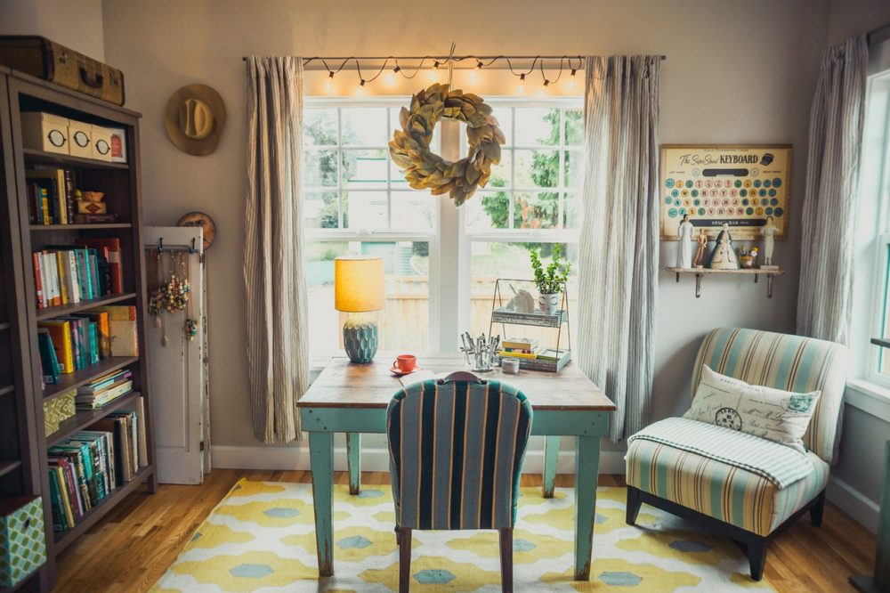 teal and tan room