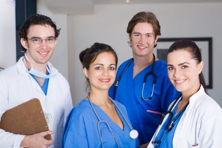 group of young doctors and nurses