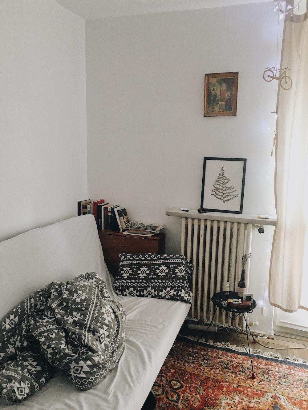 futon in trendy apartment