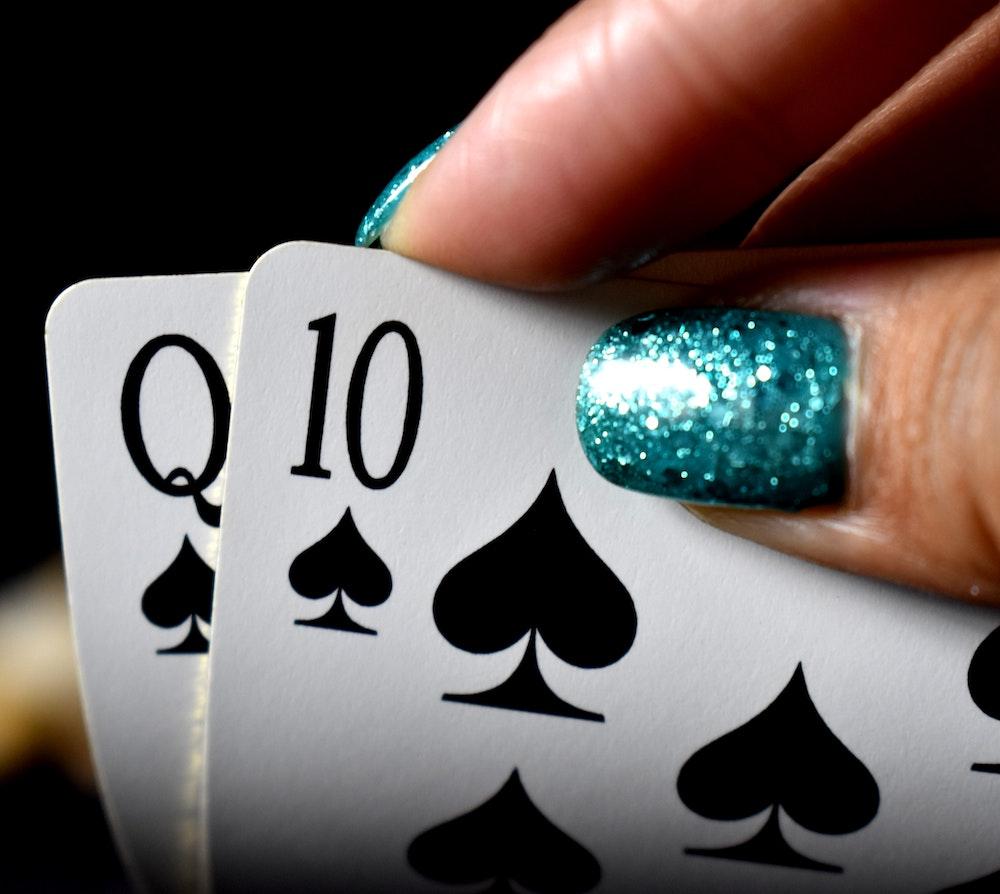 woman playing blackjack