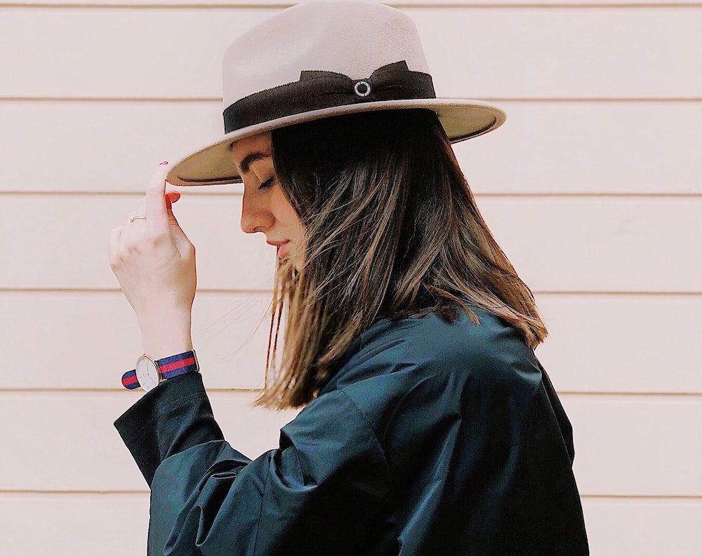stylish woman wearing hat