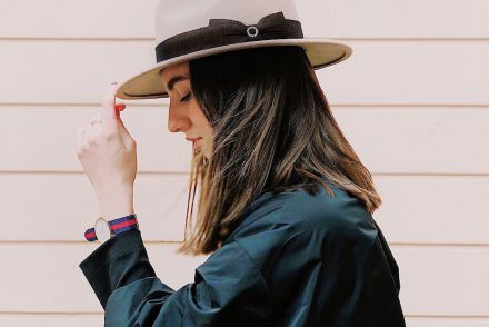 stylish woman wearing hat